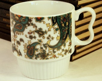 Paisley coffee mugs, Coffee cups, Stacking design, circa 60s 70s