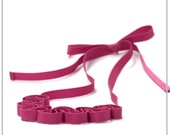 Peony pink grosgrain ribbon necklace