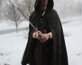 Wool Medieval Cloak with Hood Olive Green Lord of the Rings Hobbit Ranger