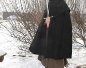 Black 100% Wool Cloak with Separate Hood Lord of the Rings Medieval
