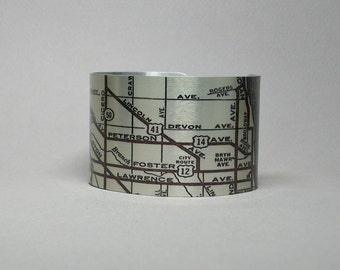 Chicago Illinois Cuff Bracelet Uptown Edgewater Andersonville Map Unique Gift for Men or Women
