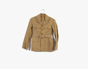 Vintage 50s JACKET / 1950s Women's British Army ATS RAF Khaki Land Girl Jacket xs