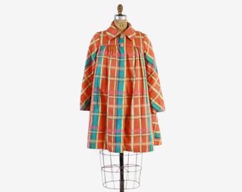 Vintage 60s Geoffrey Beene JACKET / 1960s BEENE Bazaar Orange Plaid Trapeze Swing Coat M