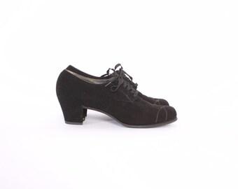 Vintage 40s OXFORDS / Vintage 1940s Black Suede Leather Lace-Up Swing Shoes Heels 9