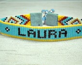 Beaded Name Bracelet - Personalized Bracelet - Adjustable Bracelet - Personalized Womens Bracelet - Boho Bracelet - Hippie Bracelet