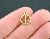 8 Peace Charms Gold Tone Classic Shape 2 Sided - GC04