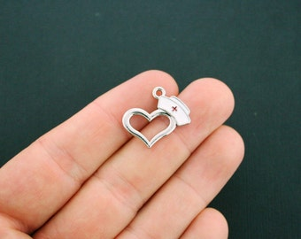 BULK 10 Nurse Charms Silver Plated Enamel and Silver Tone - E241