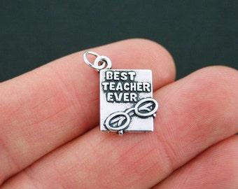 SALE 2 Teacher Charms Antique Silver Tone Best Teacher Ever- SC5218
