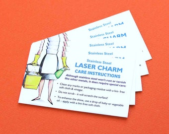 25 Instruction Cards Charm Care Instructions for Stainless Steel Charms
