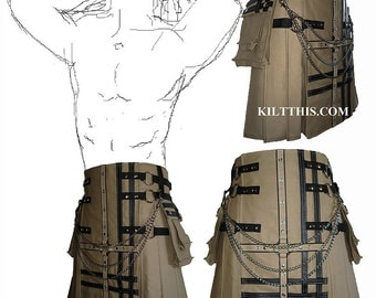 Interchangeable Khaki Canvas Cargo Utility Kilt Black Leather Double Cross Custom Fit Adjustable Many Options