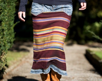 Skirt made from an Indonesian handwoven textile and recycled denim