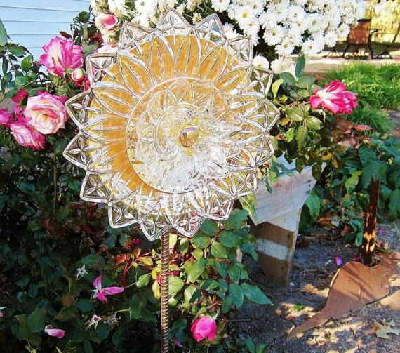 Outdoor Garden Art, Glass Flower Garden Sculpture, Recycled Plate Flower, Colorful Yard Art, Gift Idea For The Gardener, Gift For Mother