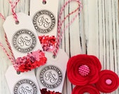 Valentine's Day Glitter Tags (Set of 4) - Handmade Tags, I Love You, Decorations, Gifts, Teachers, Candy Bags, Sweets