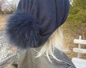 Navy Cashmere Hat Fur Pom Pom Beanie Slouchy Beanies Bobble Tam, Designer Hats By Vacation House A49 POM
