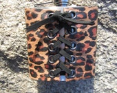 Leather Covered Flask Cuff Wrap Cheetah Leopard Animal Print, Stainless Steel Hip Flask w/ Funnel Biker Rocker  Wedding Gifts Women  Z1016