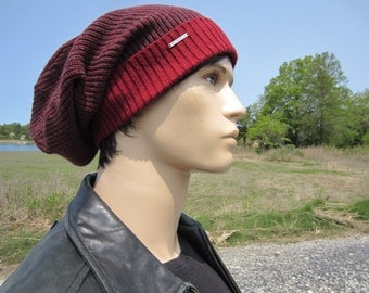 Oversized Tam Thick Knit Hats Slouchy Beanie Stocking Cap Red Gray Men's Cotton Baggy Long Hats A1818