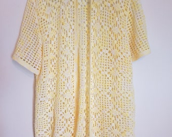 Vintage 1980s pastel yellow long cardigan vest jumper sweater