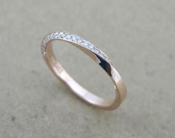 Rose gold diamond mobius ring, 18k rose gold diamond eternity band, Gold mobius infinity ring, Mobius wedding band, Diamond mobius ring