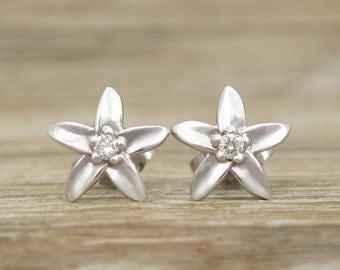 Flower Stud Earrings, Diamond Stud Flower Earrings, White Gold Flower Diamond Stud Earrings, Diamond Leaf Earrings, Bridal Diamond Earrings