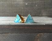 Geometric Labradorite Triangle Stud Earrings