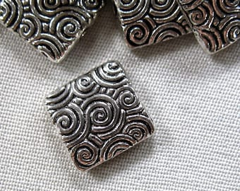 20 Antiqued Silver Alloy Metal Swirl Pattern Flat Square Spacer Beads, 10mm x 10mm, 3mm thick, package of 20