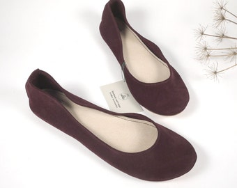 Burgundy Red Wine Soft Leather Handmade Ballet Flats
