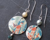 Mismatched Asymmetrical Vintage Tea Tin Earrings- Arty Look