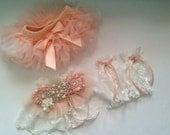 Newborn girl tutu bloomers, baby leg warmers/Arm Cuffs and Sash, peachy pink, Diaper Cover, Newborn Gift, Newborn Photo Prop