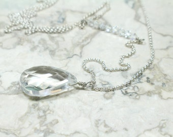 Long Pendant Necklace with Genuine Rock Crystal and Swarovski Crystals