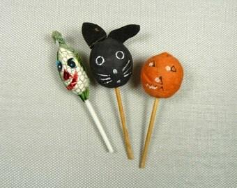 Vintage Spun Cotton Halloween Picks Cupcake Toppers Retro Orange Black Cat Decorations JOL Pumpkin