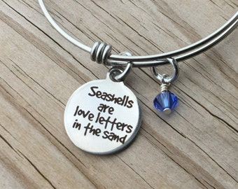 """Beach Charm Bracelet- """"Seashells are love letters in the sand"""" laser etched charm with an accent bead in your choice of colors"""