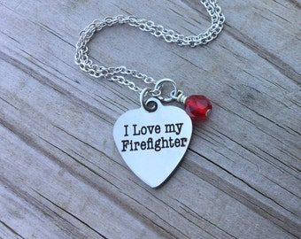 "Firefighter Necklace- ""I love my Firefighter"" laser etched charm with an accent bead of your choice"