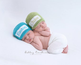 Crochet Baby Twins Set of 2 Personalized Name Cross Stitch Beanies - Newborn to 3 months - Blue Mint & Pistachio - MADE TO ORDER
