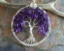 Amethyst Tree of Life Pendant with .925 Sterling Silver Chain-Wire Wrapped February Birthstone Tree of life Pendant Necklace
