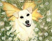 "SALE: Fairy Dog Art Print,  Fantasy Artwork, Original Acrylic Art, Dog With Flowers, Dog With Daisy, Labrador, Golden Lab, ""Ella The Foo"""