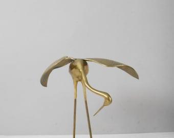 large mid century solid brass crane figurine / egret / bird / hollywood regency