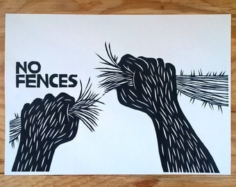 No Fences - LINOCUT PRINT
