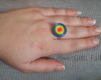Dark Rainbow Striped Circle Adjustable Ribbon Ring by RivetGiRL Falls