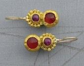 Carnelian and Ruby Earrings - 24 Karat Solid Gold Earrings with Pink Ruby and Red Carnelian Gemstone - Gold Earrings for Women