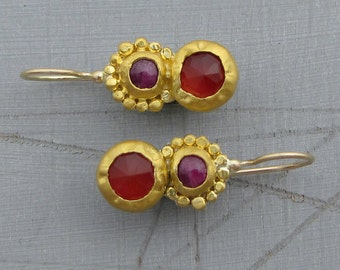 Carnelian and Ruby Earrings - 24 Karat Solid Gold Earrings with Pink Ruby and Red Carnelian Gemstone - Gold Earrings for Women