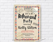 Retirement Invitations, Retirement party Invitation, Retirement Celebration POSTCARD retro vintage Invite, vintage retro design- card 621