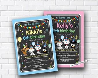 dog invitations, Kitten & Puppy Birthday Invitation, cat dog 1st 2nd 3rd 4th 5th 6th 7th 8th 9th 10th kids party boy or girl, card 461
