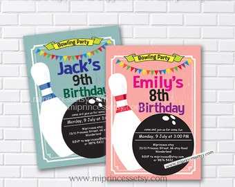Bowling Birthday Invitations any age for kids birthday invitation vintage theme boy or girl, two color to choose from - card 446