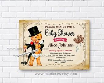 Vintage Baby Shower Invitation, baby boy Retro baby shower invitation baby boy baby girl Shower Design- 806