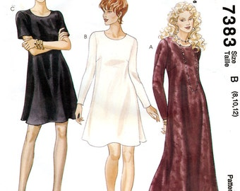 McCall's 7383 Sewing Pattern for Misses' Dress - Uncut - Size 8, 10, 12 - Bust 31.5, 32.5, 34