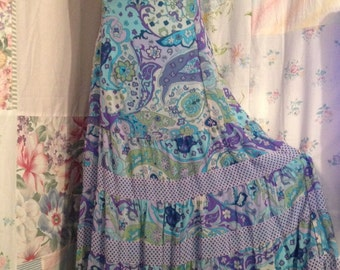 SMALL,  Flowerchild Blue Tiered Halter Dress