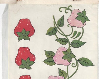 Design Craft Inc. Strawberries Vintage Decals, 1972