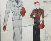 Vintage Vogue 7552 Sewing Pattern, 1940s Suit Pattern, Bust 36, Slim Skirt, Fitted Jacket Pattern, 1940s Sewing Pattern, Vogue Pattern