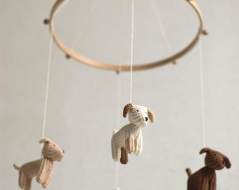 Baby mobile - dog mobile - FLYING PUPPIES- baby gift - made to order