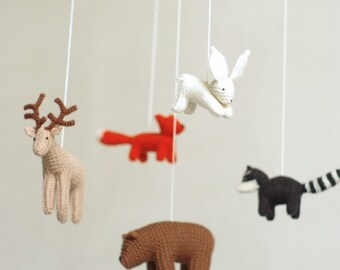 baby mobile - WOODLAND mobile - FOREST animals mobile - baby shower gift - made to order